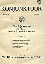 Konjunktuur 1936 nr. 14 (1). Monthly review of the Estonian Institute of Economic Research
