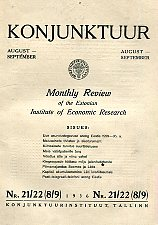 Konjunktuur 1936 nr. 21/22 (8/9). Monthly review of the Estonian Institute of Economic Research
