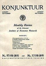 Konjunktuur 1939 nr. 57/58 (8/9). Monthly review of the Estonian Institute of Economic Research